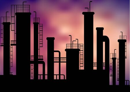 polluted cities: vector factory silhouettes Illustration