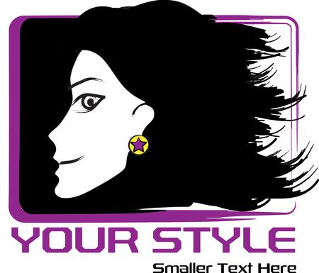 illustrazione moda: fashion illustration of woman face