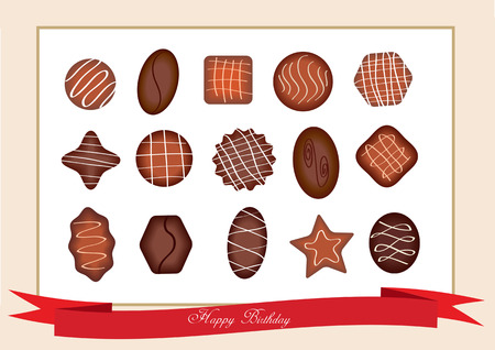 compliment: open box with chocolate sweets Illustration