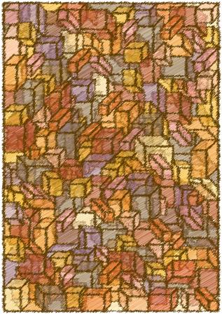 scribble: scribble cubes vector background