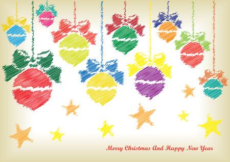 scribble: scribble christmas card Illustration