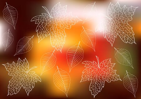 colour pencils: autumn background with leaves silhouettes