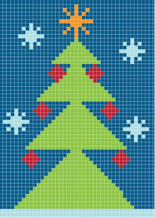 pixelated: merry christmas card with pixelated christmas tree