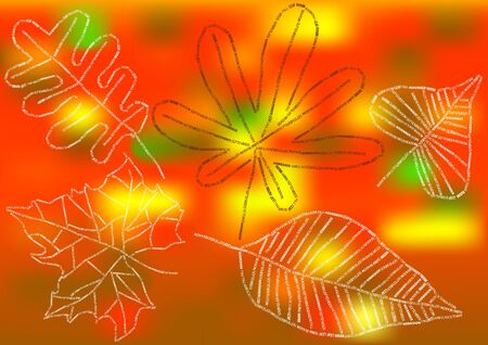 leafs: autumnal background with leafs silhouettes Illustration