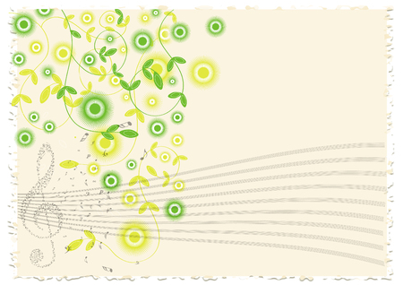rip off: color vector music notes paper with flowers