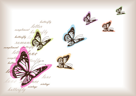 fade: romantic vector letter paper design with butterflies