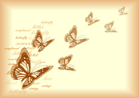 rip off: romantic vintage letter paper with butterflies and words