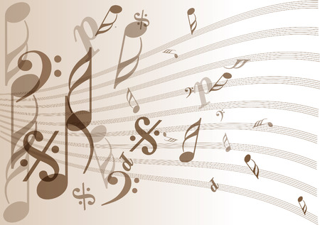paper sheets: Vector music notes background