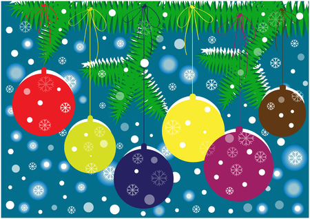 snow flakes: color vector christmas card with decorated tree and snow flakes Illustration