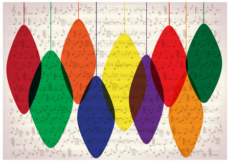 music symbols: christmas decorations on old note paper Illustration