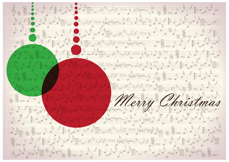 holiday music: christmas decorations on note paper