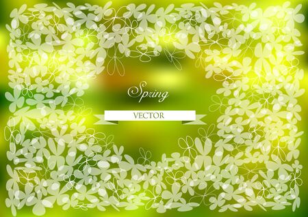 leafs: Bright vector leafs on green background Illustration