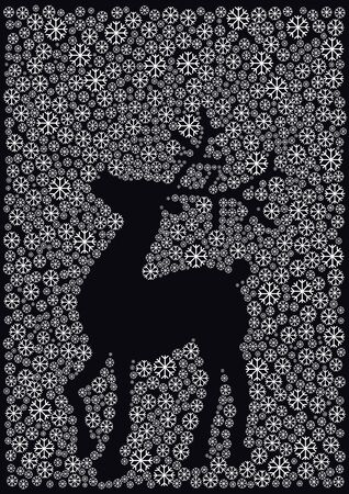snow flakes: Christmas background with reindeer and snow flakes