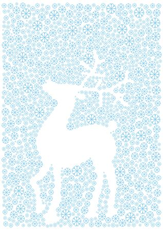 christmas reindeer silhouette and snow flakes