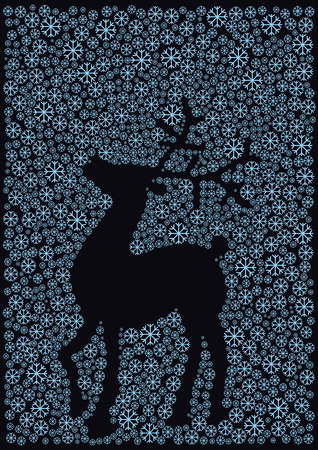 reindeer silhouette: christmas reindeer silhouette with snowflakes Illustration
