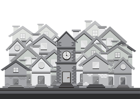 tranquil scene on urban scene: black and white flat design with houses Illustration