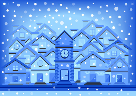 tranquil scene on urban scene: winter flat design town with falling snow Illustration