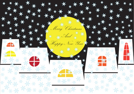 tranquil scene on urban scene: color vector christmas greeting with houses silhouettes by night