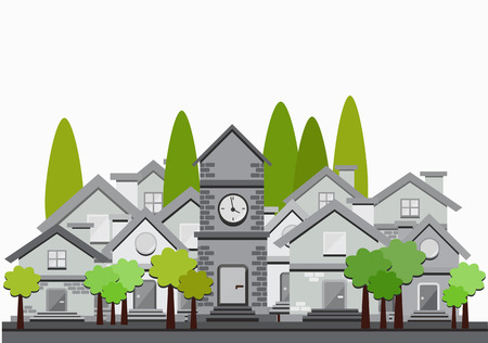 tranquil scene on urban scene: vector flat design illustration of houses and trees Illustration