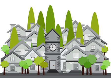 tranquil scene on urban scene: vector flat design illustration with houses