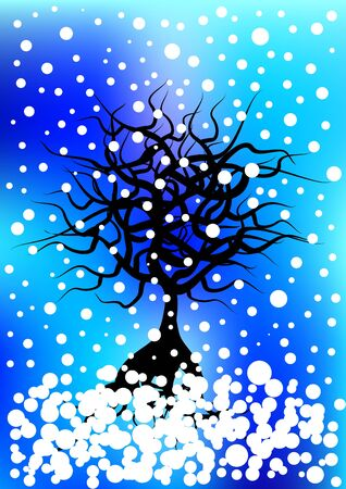 falling snow: winter tree silhouette and falling snow Illustration