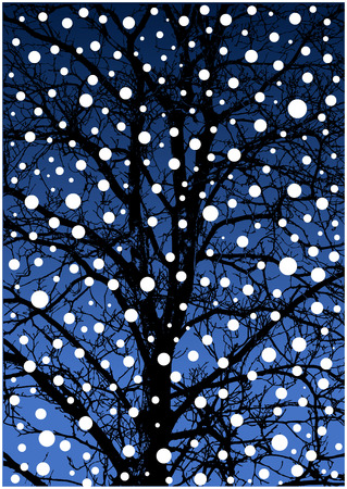 winter tree: winter tree silhouette by night Illustration