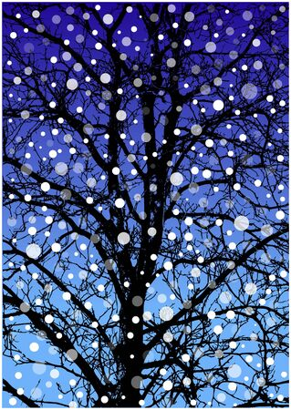 winter tree: winter tree silhouette and falling snow Illustration