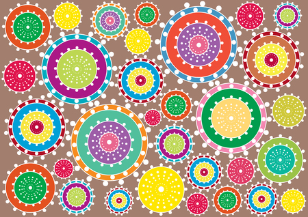 bright color: retro circles background Illustration