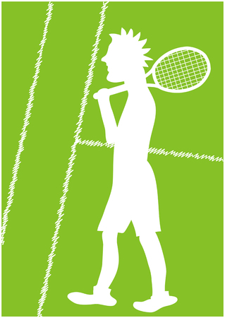 color vector illustration of tennis player silhouette on green lawn court Illustration