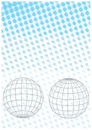 globe grid: background with two grid earth globe icons on poka dots background