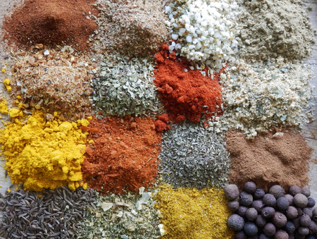color photography: detail color photography of herbs and spices collection
