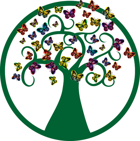 green tree vector silhouette with flying butterflies Illustration