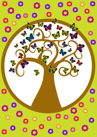 spring vector tree with butterflies and flowers
