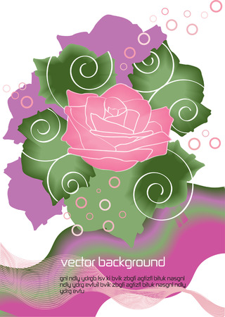 bright vector rose background,vintage vector card with booming pink rose  イラスト・ベクター素材