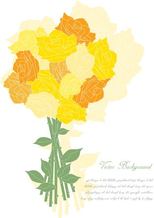 roses petals: briht yellow blooming roses petals,romantic vintage vector background