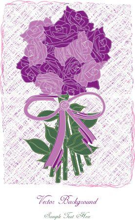 roses petals: vector roses petals with ribbon,vintage romantic card design Illustration