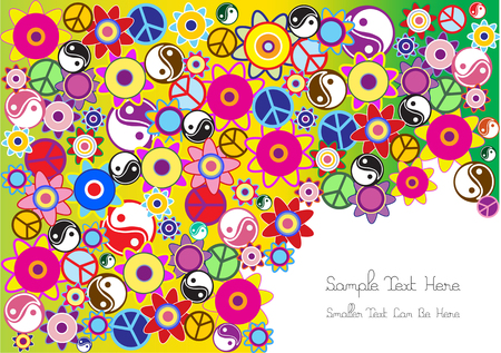 bright vector hippies background with colorful symbols  イラスト・ベクター素材