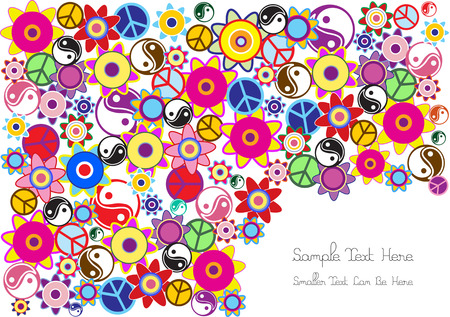 colofrul: hippies background with flowers,jin-jang symbols and flowers Illustration