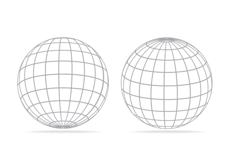 two 3d vector grid globe icons isolated on white background