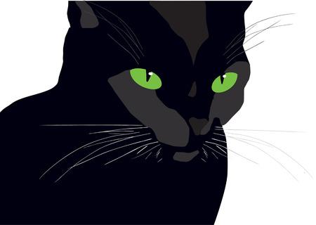retro vettore nero gatto silhouette pittura con gli occhi verdi