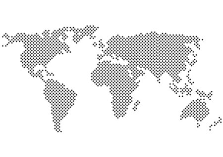 black and white vector color halftone world map silhouette