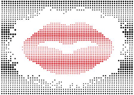 kissing lips: vector color halftone lips mark in black polka dots frame