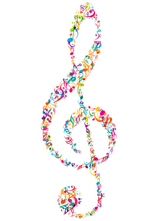 colorful vector music notes clef icon Illustration