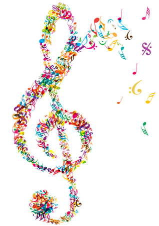 bright vector clef made of music notes