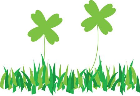 four leafs clover: two green  quatrefoils on grass illustration