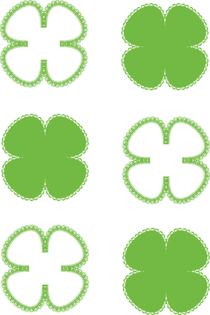 four leafs clover: green quatrefoils isolated on white background Illustration