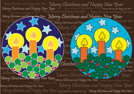 color vector christmas background with candles and stars Illustration