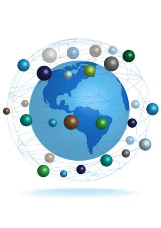bright vector 3D Earth globe icon Illustration