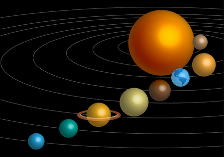 heaven and earth: 3D vector sun and planets models Illustration