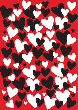 black and white hearts silhouettes on red background